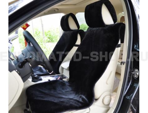 Накидка на сиденья автомобиля из искусcтвенного меха Euromat Tex (черная) № EUSH-004000