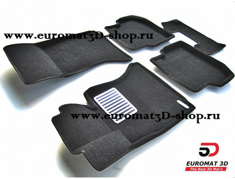Текстильные 3D коврики Euromat в салон для BMW 5 (F10) (2010-2013) № EM3D-001205